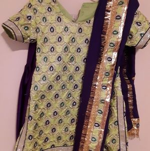 Diwali outfit salwar Indian silk Girls 10 11 yrs